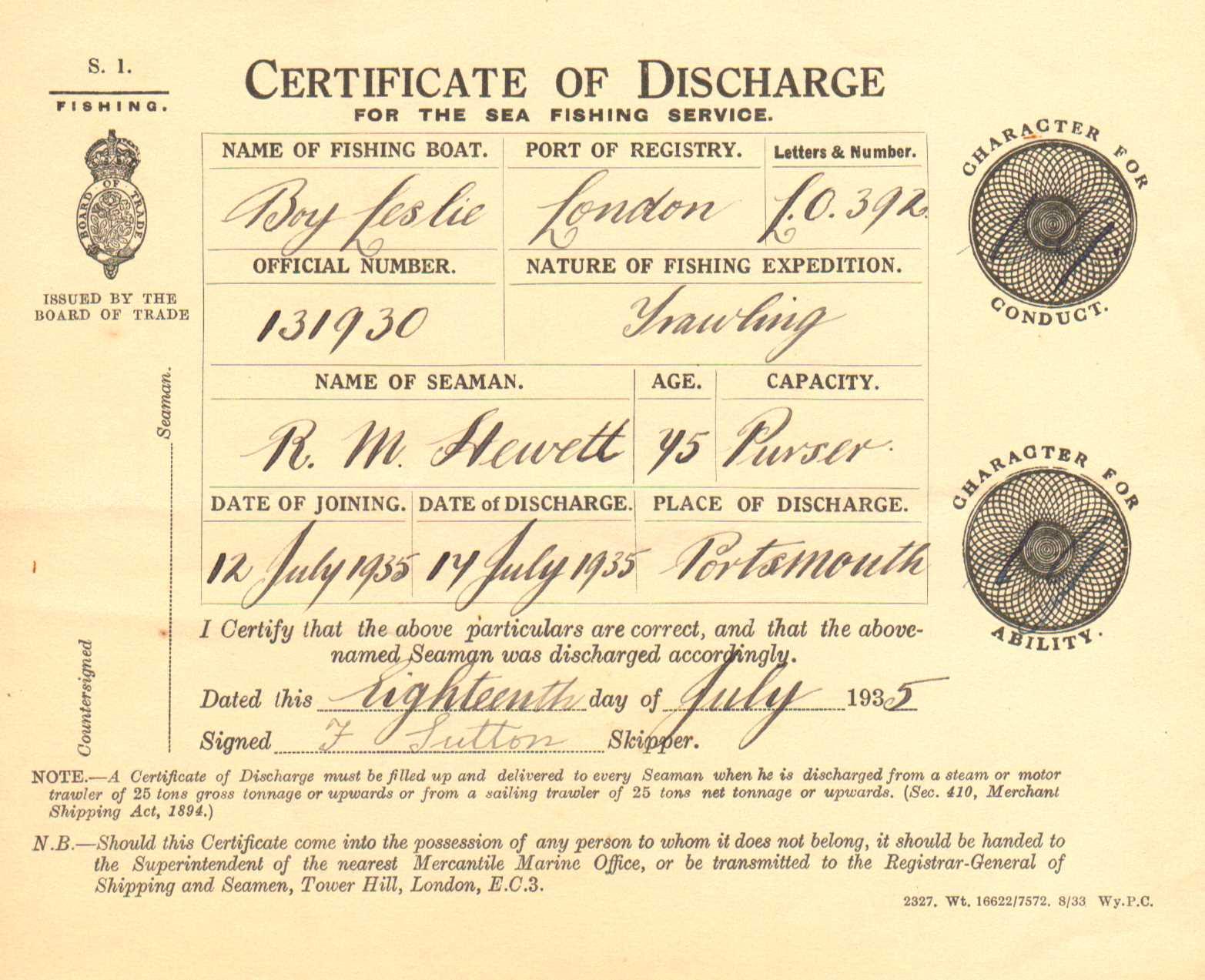Robert hewett Discharge certificate 1935